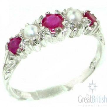Sterling Silver Natural Ruby & Pearl Ring