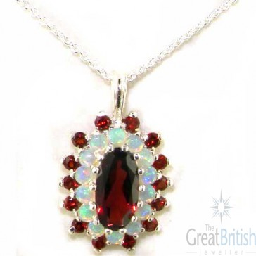 9ct White Gold 12x6mm Natural Garnet & Opal 3 Tier Large Cluster Pendant Necklace