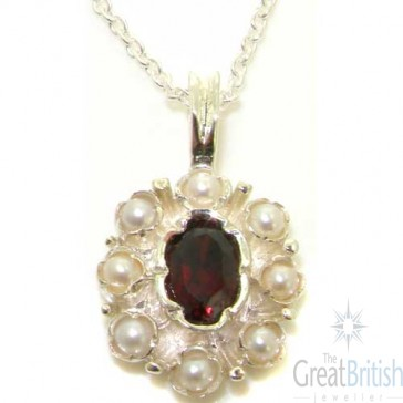 9ct White Gold Natural Garnet & Pearl Pendant Necklace