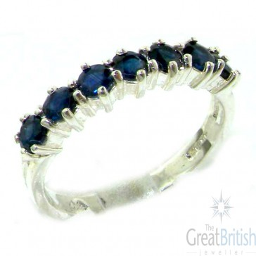 9ct White Gold Blue Sapphire Eternity Ring