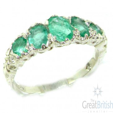 9ct White Gold Emerald 5 Stone Ring