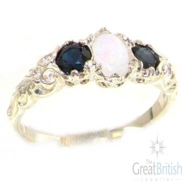 9ct White Gold AAA Opal & Sapphire Ring