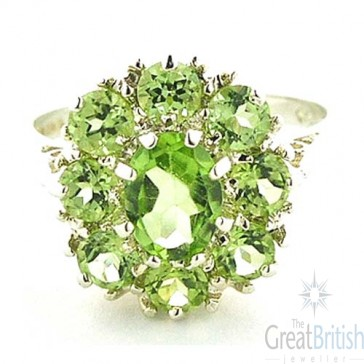 14K White Gold Peridot Cluster Ring