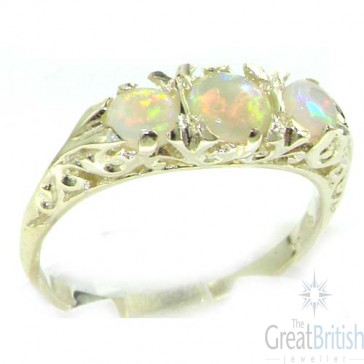 9ct White Gold Ladies Fiery Opal Eternity Ring