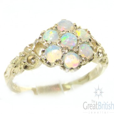 9ct White Gold Ladies AAA Fiery Opal Daisy Ring