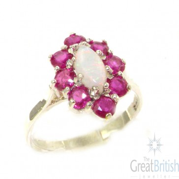 9ct White Gold Marquise Opal & Ruby Cluster Ring