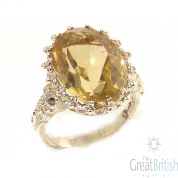 14K White Gold Large Citrine Ring