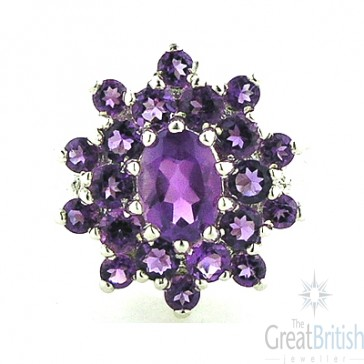 9ct White Gold Amethyst Cluster Ring
