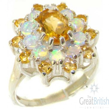 14K White Gold Golden Citrine & Opal Ring