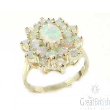9ct White Gold fiery Opal Cluster Ring