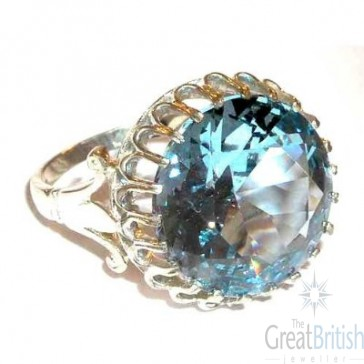 Sterling Silver Large 16mm Synthetic Aquamarine Ring