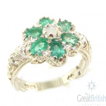 9ct White Gold Fiery Opal & Emerald Ring