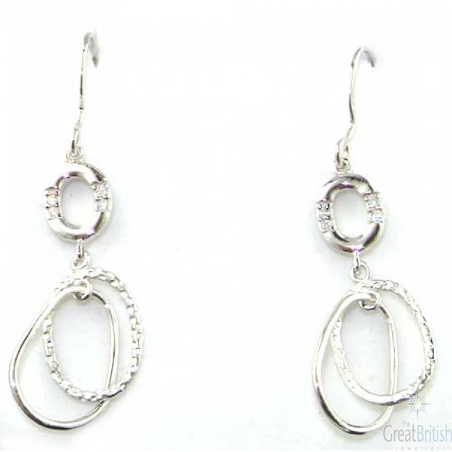 Sterling Silver Unusual Looped Drop Earrings