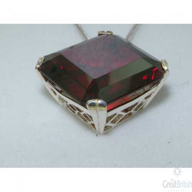Sterling silver large square octagon cut 41ct synthetic garnet sterling silver large square octagon cut 41ct synthetic garnet pendant necklace aloadofball Choice Image