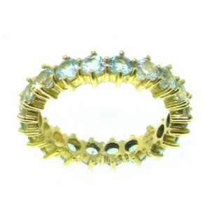9ct Yellow Gold Ladies Aquamarine Full Eternity Ring