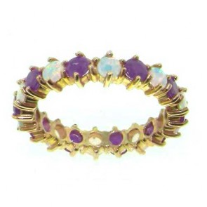 9ct Gold Opal & Amethyst Full Eternity Ring