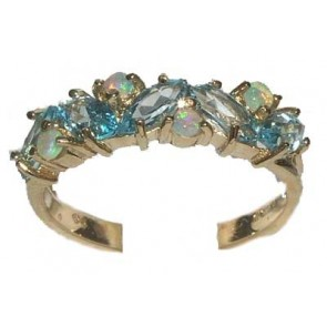 9ct Yellow Gold Ladies Blue Topaz & Colorful Fiery Opal Anniversary Eternity Ring