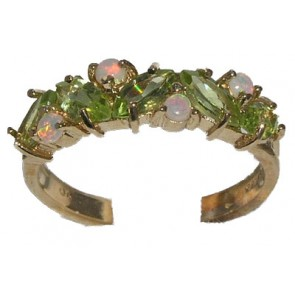 9ct Yellow Gold Ladies Peridot & Colorful Fiery Opal Anniversary Eternity Ring
