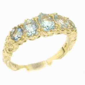 14K Yellow Gold Natural Aquamarine English Victorian Ring