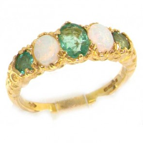 9ct Yellow Gold Luxury Vibrant Emerald & Opal Eternity Band Ring