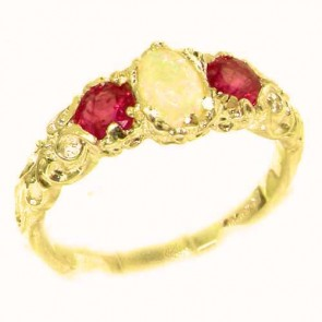 14K Yellow Gold Natural Opal & Ruby English Victorian Trilogy Ring