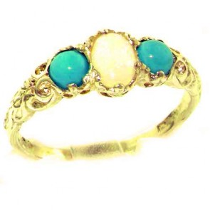9ct Yellow Gold Natural Opal & Turquoise English Victorian Trilogy Ring