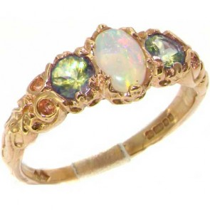 14K Yellow Gold Natural Opal & Peridot English Victorian Trilogy Ring
