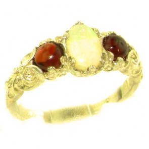 14K Yellow Gold Natural Opal & Garnet English Victorian Trilogy Ring