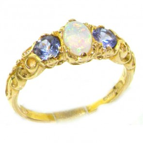 14K Yellow Gold Fiery Opal & Tanzanite Ring