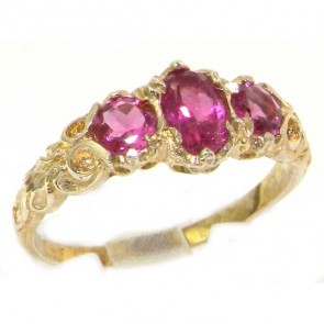 14K Yellow Gold Luxury Vibrant Pink Tourmaline Eternity Trilogy Band Ring