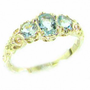 9ct Yellow Gold Natural Aquamarine English Victorian Trilogy Ring