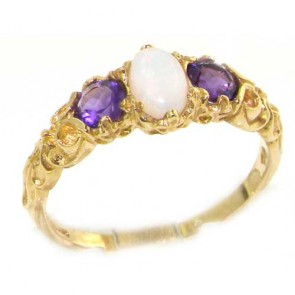 18ct Gold Fiery Opal & Amethyst Ring