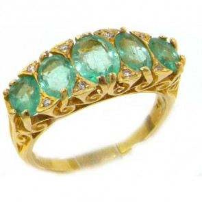 14K Gold Vibrant Emerald & Diamond Ring