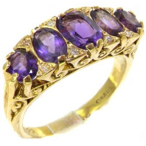 14K Gold Vibrant Amethyst & Diamond Ring