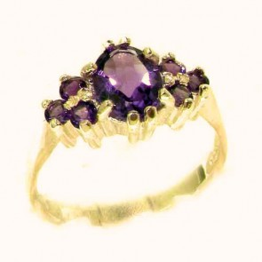 9ct Yellow Gold Natural Amethyst Ring