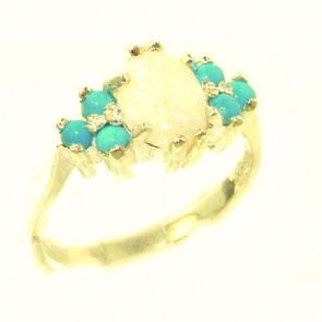 9ct Yellow Gold Natural Opal & Turquoise Ring