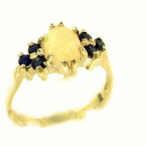 14K Yellow Gold Natural Opal & Sapphire Ring
