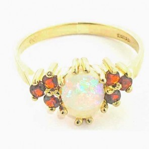 9ct Yellow Gold Fiery Opal & Garnet Ring