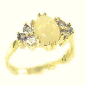 14K Yellow Gold Natural Opal & Tanzanite Ring