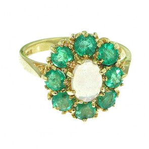 14K Yellow Gold Natural Opal & Emerald Large Cluster Ring