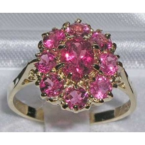 9ct Yellow Gold Natural Pink Tourmaline Large Cluster Ring