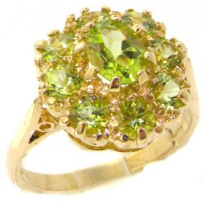 14K Yellow Gold Peridot Cluster Ring