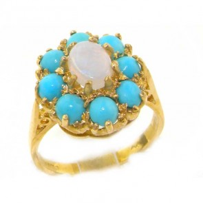 14K Gold Opal & Turquoise Cluster Ring