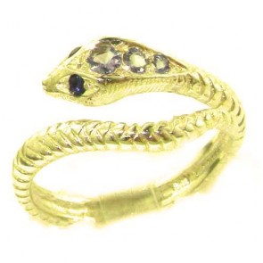 9ct Yellow Gold Natural Tanzanite & Sapphire Detailed Snake Ring
