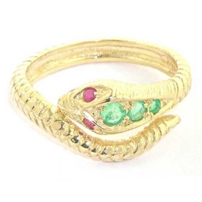 9ct Yellow Gold Emerald & Ruby Snake Ring