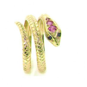14K Yellow Gold Natural Ruby & Sapphire Detailed Snake Ring