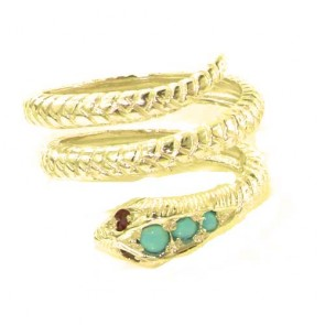 9ct Yellow Gold Natural Turquoise & Ruby Detailed Snake Ring
