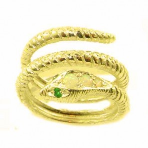 14K Yellow Gold Natural Fiery Opal & Emerald Detailed Snake Ring