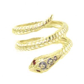 9ct Yellow Gold Natural Tanzanite & Ruby Detailed Snake Ring