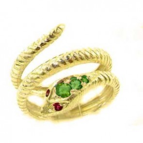 9ct Yellow Gold Natural Emerald & Ruby Detailed Snake Ring